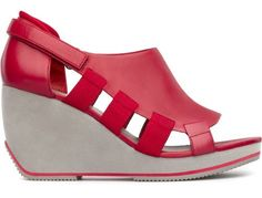 For Spring Summer 2013 Camper presents Kremer, a red open sandal with a grey 9cm wedge heel made of full grain leather for a cutting edge futuristic look.
