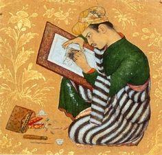 Portrait of Abu'l Hasan. From the Gulshan Album, circa Golestan Palace Library, Tehran - Category:Abu al-Hasan (Mughal painter) - Wikimedia Commons Mughal Miniature Paintings, Mughal Paintings, Islamic Paintings, Indian Paintings, Oriental, Square Canvas, Arabian Nights, Linocut Prints, Portrait Art