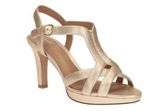Clarks Gold Metallic Delsie Risa high heeled sandal- at Debenhams.com