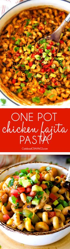 Lighter ONE POT Chicken Fajita Pasta has only minutes of hands-on cooking time! Its smothered in cheesy, creamy salsa infused sauce bursting with your favorite fajita spiced chicken, onions and peppers! The pasta cooks right IN the sauce for simple prep, minimal cleanup, and extra flavooooor!
