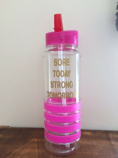 Gym water bottle pink blue green quote sore today strong tomorrow sportsbottle motivation gym gift Christmas flip lid red quote sports by LoveartsGifts on Etsy Gym Water Bottle, Water Bottles, Gin Quotes, Pink Blue, Blue Green, Gym Buddy, Black Quotes, Funny Gifts, Happy Shopping
