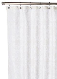 Carnation Home Fashions Damask Fabric Shower Curtain Ivory On White By