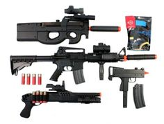 Buy Airsoft Tactical M4 RIS AEG KS90 AEG M11A1 SMG & AGM Shotgun COMBO w/ 0.12g GoldenBall BBs M4 Mag and 4 Spare Shells - FREE SHIPPING | ASP-SPG-10 at Airsoft Megastore