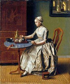 Jean-Etienne Liotard (Swiss-French artist, 1702-1789) La Chocolatiere c 1744
