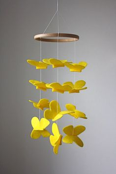 Sunny Yellow Erfly Crib Mobile Modern Nursery Or Kid S Room Sunshine
