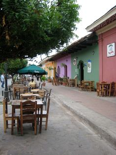 Street lined with cafes - Granada, Nicaragua