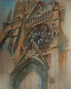 """""""Upon High"""" Impressionism Style watercolor. This is of the big window above the front door of the Catholic church in Helena. This is one of the hardest paintings I've ever done! SOLD"""