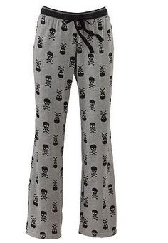 Unique Punk Goth Gray Black Skull Hearts PJ Pajama Pants Bottoms Cotton Kohls L other then the skulls i love this Skull Fashion, Dark Fashion, Cotton Pjs, Cotton Sleepwear, Woven Cotton, The Rock, Grunge, Looks Cool, Trends