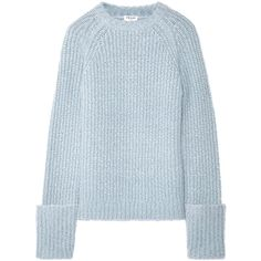 FRAME Alpaca-blend sweater (635 CAD) ❤ liked on Polyvore featuring tops, sweaters, sky blue, sleeve top, textured sweater, fold over sweater, ribbed top and blue top