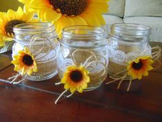 "Rustic Wedding Burlap Jars, Lace and Burlap Jars, Burlap Centerpiece,Rustic Wedding Centerpiece,Sunflower Wedding Jars, Wedding Candles Jars Listing is for a set of 6 burlap mini cndle holder jars! These are perfect or your rustic sunflower wedding! These rustic jars are hand decorated with burlap, lace and sunflower! Each jar has the following dimensions: 6.5cm x 10cm ~ 2.55"" x 4"" Please check my policies for info on delivery times. Comes with GIFT- scented tea candles!"