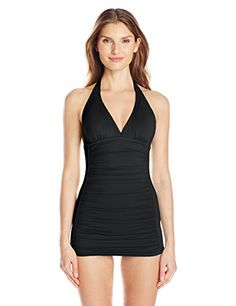 COCO RAVE Women's Zodiac Dreams Solid Kendall Swimdress One Piece Swimsuit, Jet Black, Small/D