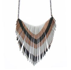 Fringe Copper Necklace  Multi V silver and black by jamiespinello, $87.00