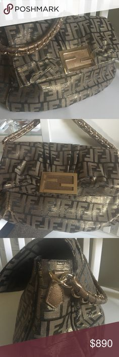 """FENDI BAG Mia Zucca EXCELLENT Medium Guaranteed Authentic FENDI gorgeous Zucca FF Print HandBag.Excellent condition.The FF gold logo flap w/ mixed gold chains/leather straps are all luxurious & substantial.This medium sized bag measures approx 13"""" wide x 10"""" tall x 3"""" deep. It's a shoulder & arm bag in hobo or satchel style.Outside is a luxe glittery thick canvas. Nice statement bag for less than retail.Made in Italy.Fabric is clean inside with zip pocket & Fendi codes…"""