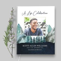 The memorial guest book celebrates your loved one with beautiful hand-painted watercolor eucalyptus with a poem (customizable) on the back of the book. We also offer three size options