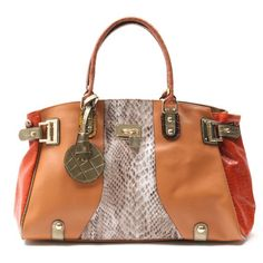Orange Color Shoulder bag /Snake skin pattern