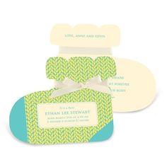 Boy Birth Announcements -- Sweet Feet in Yellow