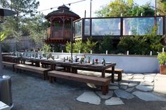 Allie's Party Rental Rustic Feast Tables, Benches and Heaters