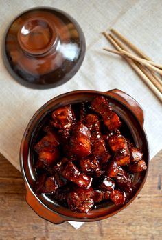 Shanghai-Style Braised Pork Belly (Hong Shao Rou, 红烧肉)only takes four ingredients and the taste is AMAZING