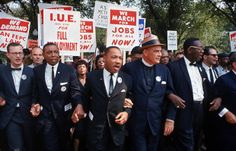 Leaders of the March on Washington for Jobs & Freedom including Rabbi Joachim Prinz, Eugene Carson Blake, Martin Luther King, Floyd McKissick, Matthew Ahmann & John Lewis lead a procession.  (Photo by Robert W. Kelley/Time Life Pictures/Getty Images)