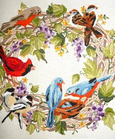 Vintage Birds Embroidery Crewel Art 1980s by ModDom on Etsy, $16.00