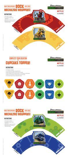 Free Printable Dinotrux Cupcake Kit