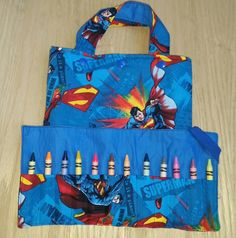 Check out this item in my Etsy shop https://www.etsy.com/listing/240514924/tote-bag-and-crayon-roll-superman-gift