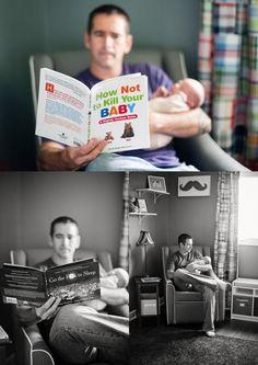 dad and son newborn photos