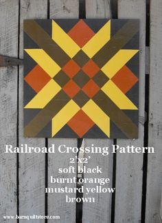 Painted Wood Barn Quilt, Railroad Crossing Pattern