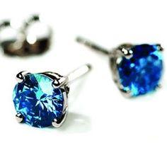 Aretes de Broquel de Diamantes Azul Redondo de 2.00 Cts