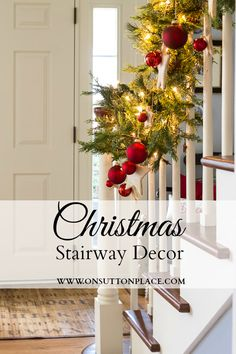 DIY Christmas Stairway Decor ~ combine fresh with faux greenery for a custom and festive look!