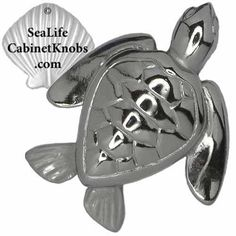 Sea Turtle Cabinet Knobs.  Cast in fine pewter. Finished in brushed nickel, chrome or custom powder coat colors. From the Sea Life Cabinet Knobs Collection of over 110 coordinated cabinet and drawer pulls designed and sculpted by marine life artist Peter Costello. www.SeaLifeCabine... , Free Shipping.