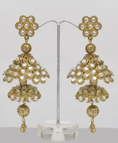 Indian Jhumka Earrings with 2 belled tiers and lots of white stones
