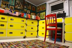 Katwise's sunshine yellow sewing room.
