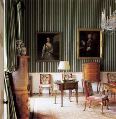 patrickhumphreys:  The Green Satin Bedroom at Chatsworth, with portraits of Lady and Lord Burlington by George Knapton, c. 1719 and 1743. Photo by Simon Upton.... From... http://thefullerview.tumblr.com/post/56744987511/patrickhumphreys-the-green-satin-bedroom-at