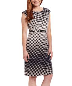 Look at this #zulilyfind! Navy & Beige Lattice Cap-Sleeve Dress #zulilyfinds