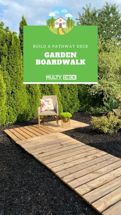 "Create a boardwalk style walking path through your garden, using the MultyDeck recycled rubber bases to keep the wood off the ground. Use 6"" decking boards in your choice of pre-treated wood or composite to create a simple boardwalk. Create a breakfast nook right in the flower beds to enjoy a morning coffee! Decking Boards, Platform Deck, Walking Paths, Recycled Rubber, Garden Crafts, Breakfast Nook, Outdoor Projects, Flower Beds, Garden Planning"