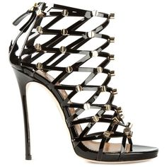 Dsquared2 Strappy Sandals ($921) ❤ liked on Polyvore featuring shoes, sandals, heels, black, strappy heel sandals, black strap sandals, strap sandals, black strappy stilettos and black sandals