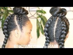 Girl Bun Hairstyle Collab w/ LadyJustice | Natural Hair Kids - YouTube