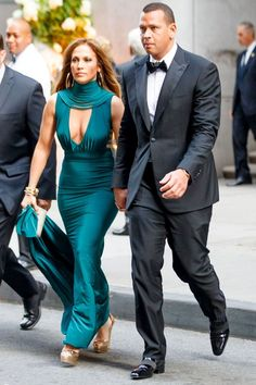 Jennifer Lopez And Alex Rodriguez' Date Night Outfits - teal plunging dress