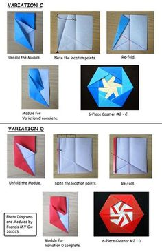 Francis Ow's Origami - diagrams - 6 Piece Hexagonal Coaster 2 variations