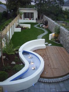 Patio Garden Design on Long Narrow Garden Project Photos From Landscaper Redlough Patio-Garten-Desig Backyard Garden Design, Small Garden Design, Patio Design, Courtyard Design, Backyard Ideas, Small Space Gardening, Small Gardens, Outdoor Gardens, Narrow Patio Ideas
