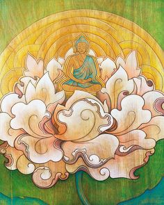 Buddha in a Lotus Flower by EyaClaire on Etsy