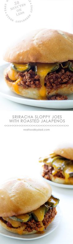 Sriracha Sloppy Joes with Roasted Jalapenos _ With ground rib eye & sirloin. Let's talk spices. I kept it simple & pretty traditional, other than throwing in a hint of Sriracha. I topped it with roasted jalapenos & a heavy layering of cheese!