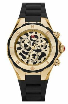 MICHELE 'Tahitian' Animal Print Silicone Strap Watch MICHELE. $259.78