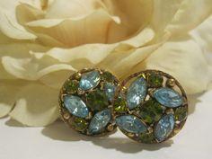 Stunning Aqua & Green Rhinestone Vintage Earrings. $24.00, via Etsy.