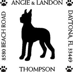 Thompson rubber address stamp w/ Boxer dog image