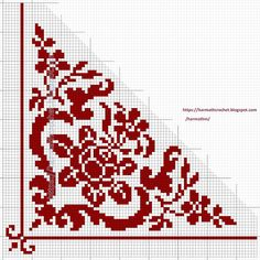 Diy Embroidery, Embroidery Stitches, Embroidery Designs, Crochet Designs, Crochet Patterns, Knit Edge, Fillet Crochet, Red Pattern, Double Knitting