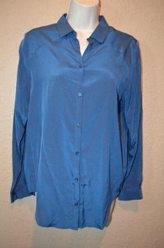 NWT $168 Sz S Bella Luxx Blue Washed Indigo Silk Blend Long Sleeve Blouse Top #BellaLuxx #Blouse #Casual
