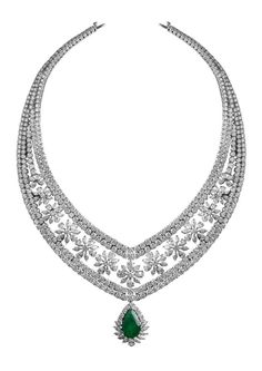 Necklace with emerald drop
