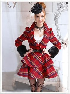 Morpheus Boutique  - Red Plaid Vintage Style Hair Long Sleeve Layer Hem Lady Overcoat, $169.99 (http://www.morpheusboutique.com/red-plaid-vintage-style-hair-long-sleeve-layer-hem-lady-overcoat/)